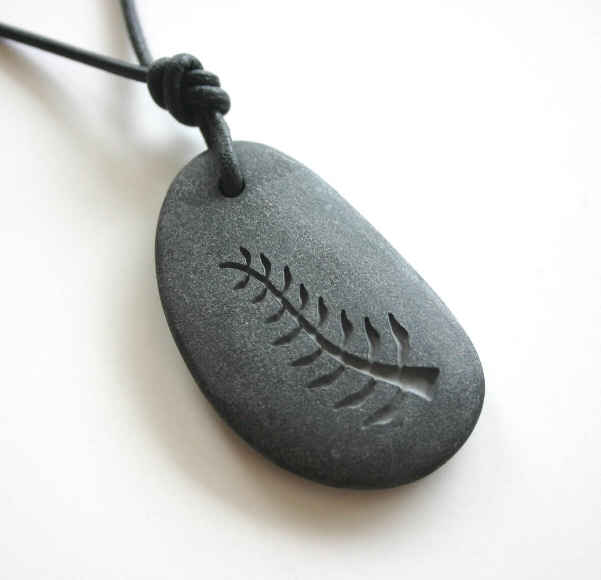 Nyame Nti Adinkra Symbol Engraved Black Stone Gemstone Necklace - MonkeysJewels