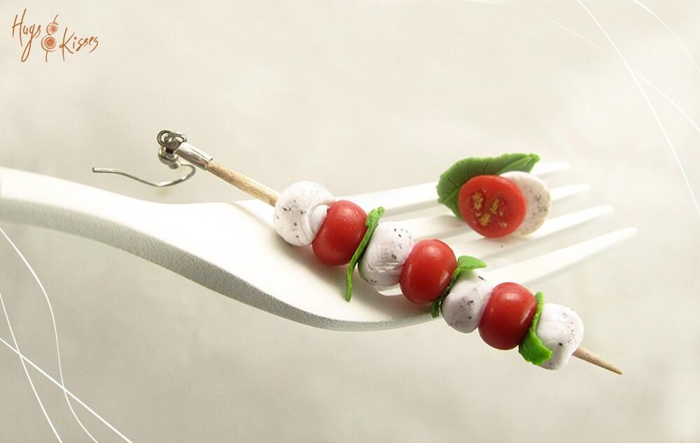 Mozzarella, Tomato & Basil skewer Earrings - Italian Mini Food Jewelry ...