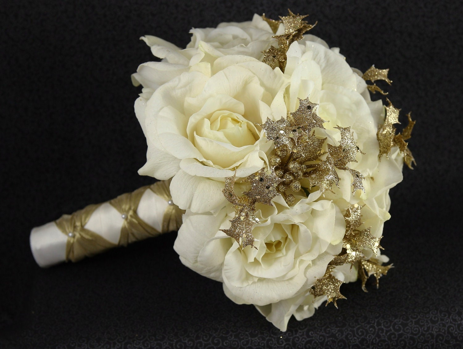 Items Similar To Cream White Amp Gold Wedding Bridal Bouquet Boutonniere