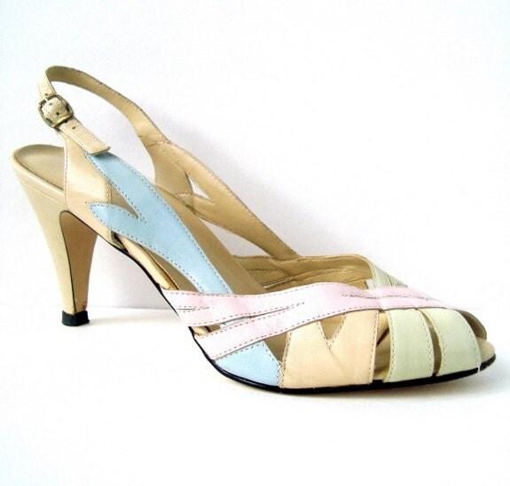 Vintage Beige Peep toe Slingback Dress Sandal Pump 8.5 - StarletsVintage