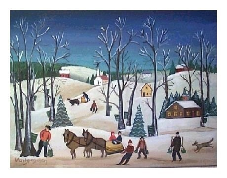 MAPLE SUGARING Vermont Winter Landscape SIGNED ART PRINT Naive SNOWY WOODS HORSES