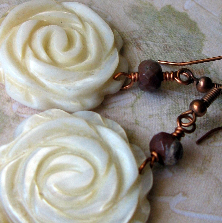 Warm Ocean Breeze - Mother of Pearl and fancy jasper earrings by South Wind Design