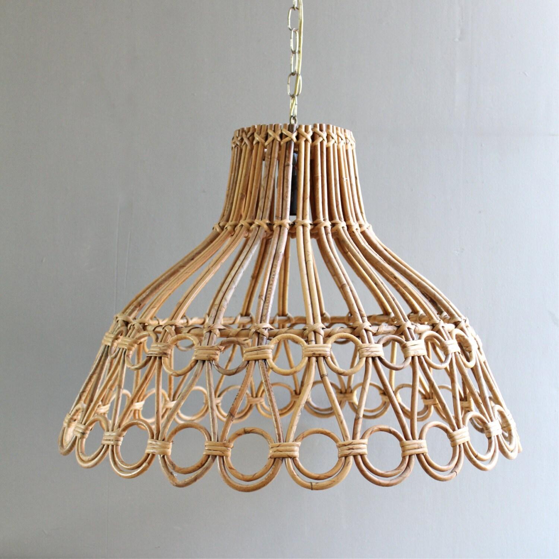 Vintage Bamboo Rattan Lamp - lovintagefinds