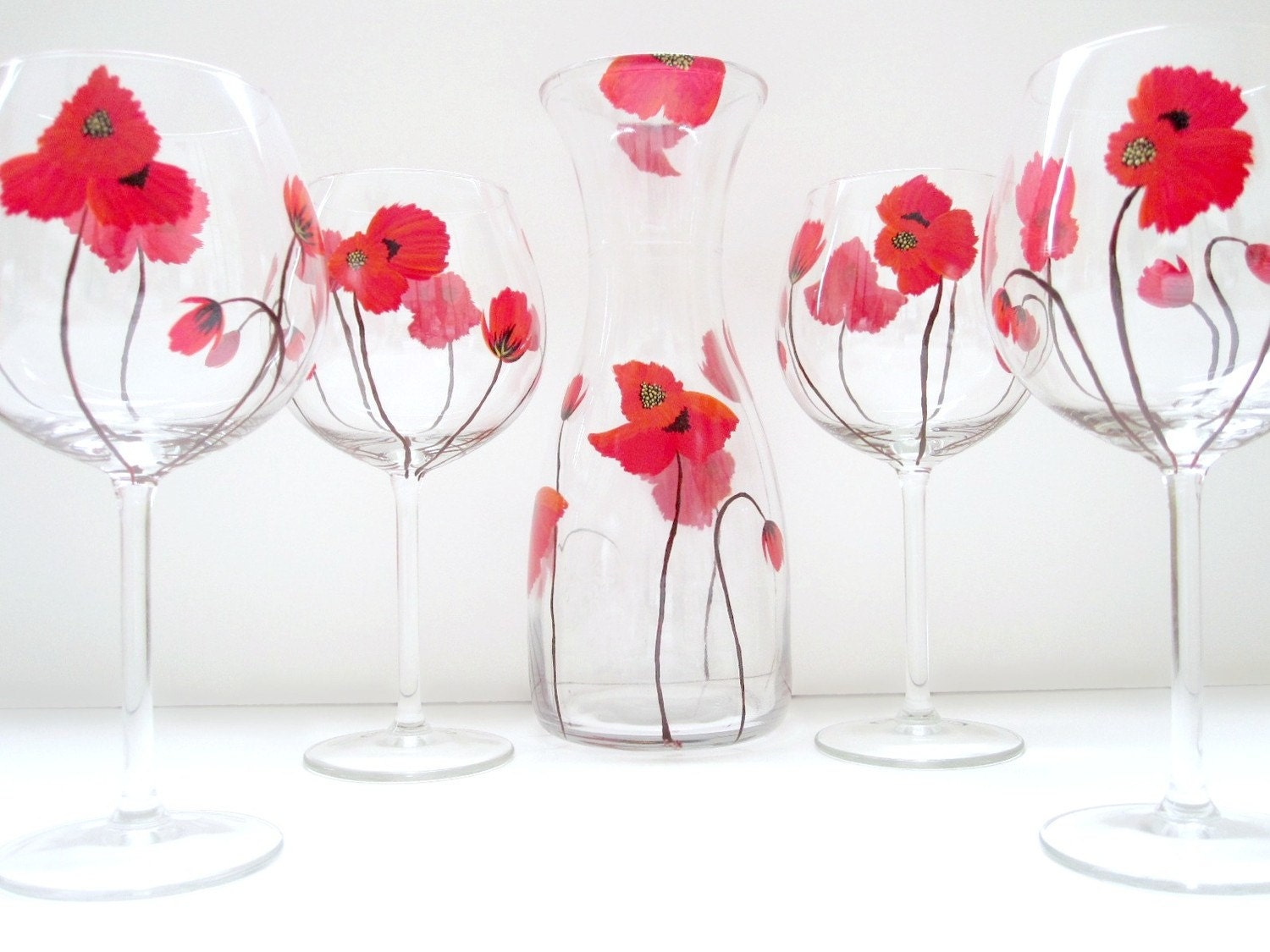 Red Poppies- 5 Piece Wine Set