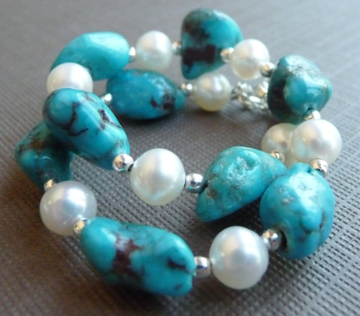 Sunrise on the Lake Turquoise and Pearl Sterling Silver Bracelet