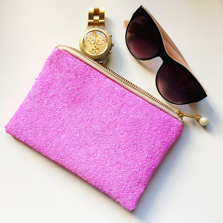 Candy Floss Pink Glitter bag Pink glitter bag Pink makeup bag glitter makeup pouch glitter makeup bag gift for girls gift for her