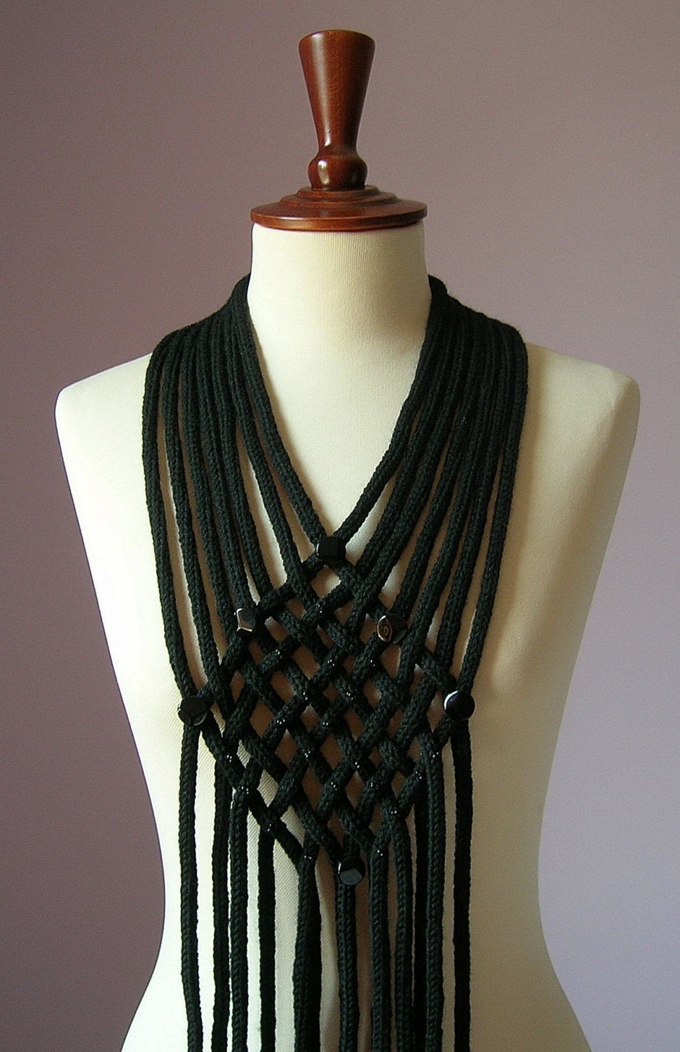FILIGREE Knitting Beaded Necklace - Scarf