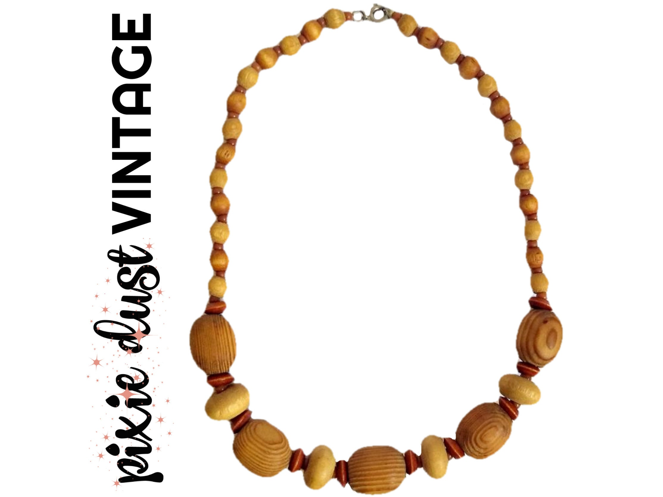 Wood Bead Necklace Vintage Wooden Beads Beaded Antique Retro 50s 60s 1950s 1960s Mid Century