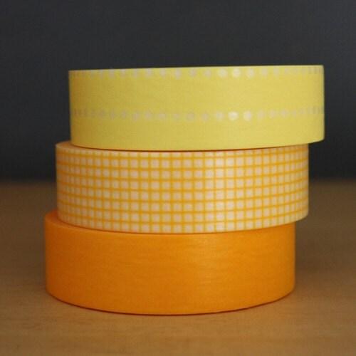 MASKING TAPE SWEET SET of 3 - YELLOW MIX 15mm