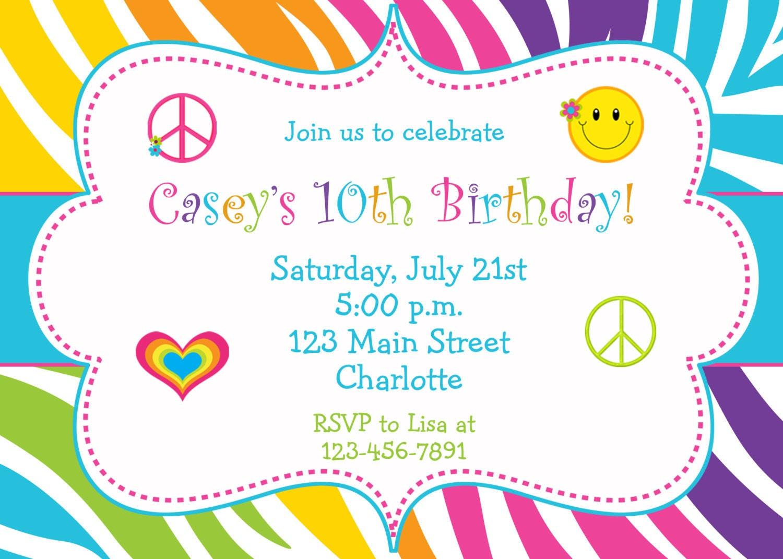 Rainbow Zebra Girls Birthday Party Invitation by ...