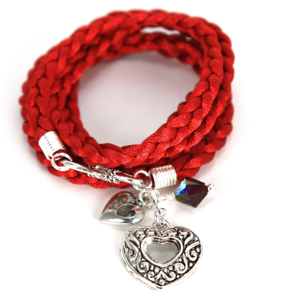 Satin Cord Wrap Bracelet - Carmine Red with Silver Hearts and Garnet Swarovski Crystals - anjalicreations