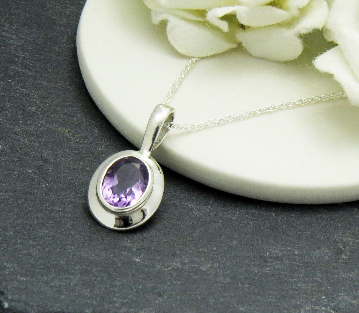 Amethyst Gemstone Necklace Amethyst Birthstone Necklace Amethyst Pendant Amethyst Gift for Mother Amethyst Jewelry February Birthstone