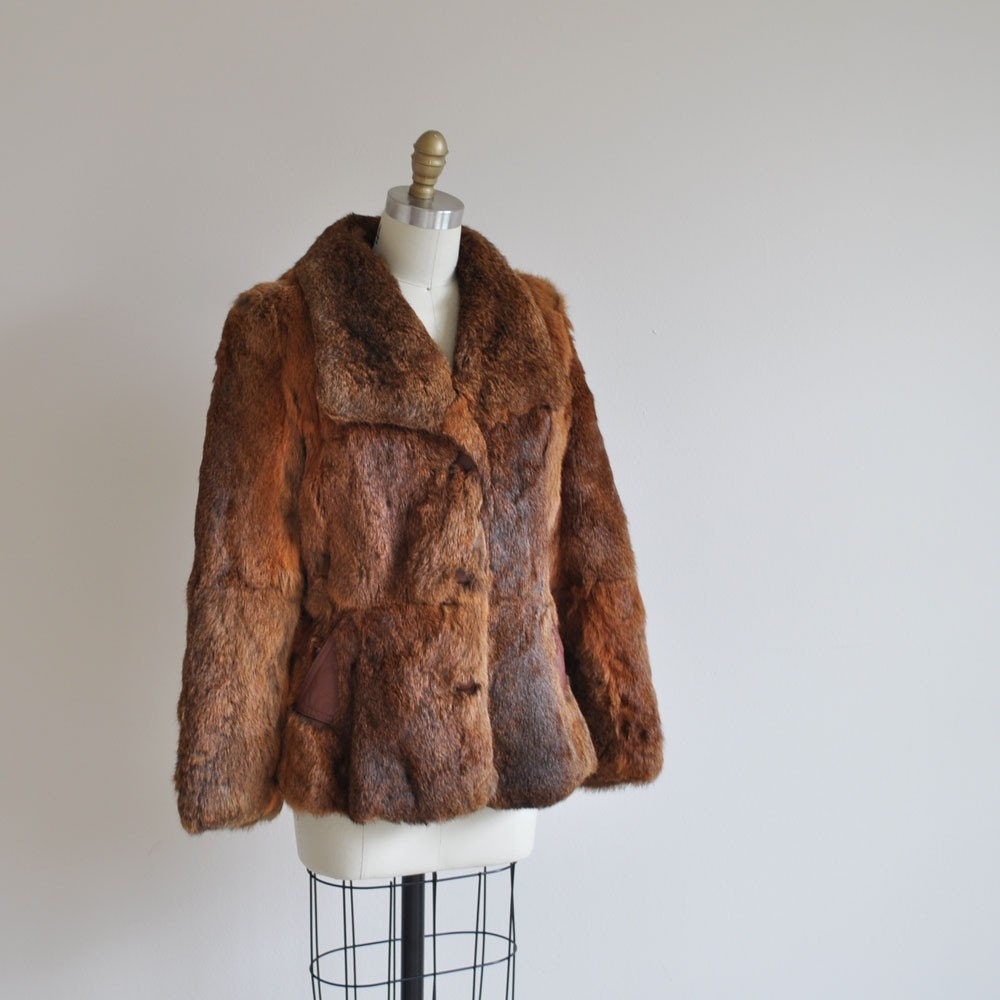 Vintage COPPER SHIMMER Rabbit Fur Coat by MariesVintage on Etsy from etsy.com