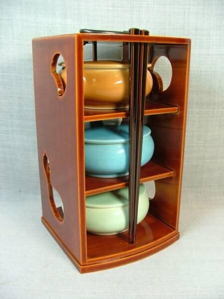 Vintage Japanese Bowls And Wood Case Set With Chopsticks-Unique