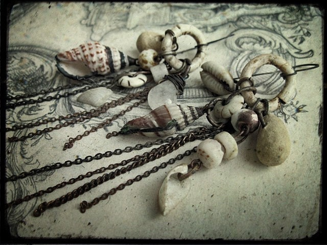 Silver Bells and Cockle Shells. Victorian Tribal Earrings.