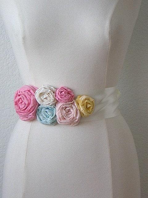 Satin Ribbon Rose Sash, 6 Flowers, Choose Your Colors