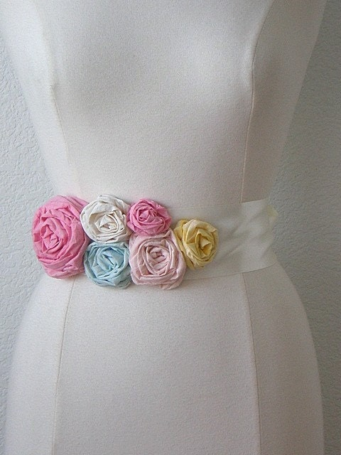 Satin Ribbon Rose Sash, 6 Flowers, Choose Your Colors