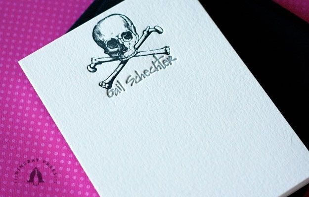 Skull and Crossbones personalized stationery. Custom Letterpress, set of 25.