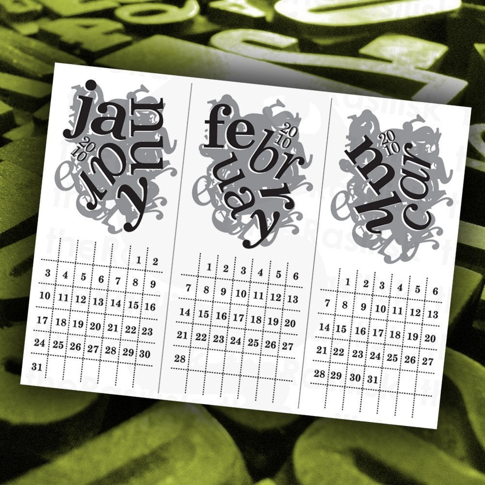Last Minute Gift  The Crazy Type Calendar 2010  by theRasilisk
