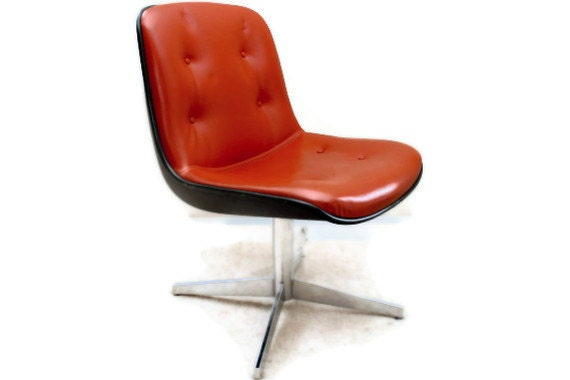 seventies orange chair funky leather office by futureancestor