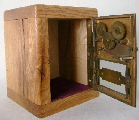 Wooden Bank Safe from Vintage Brass Post Office Door 276 with Unique Combination