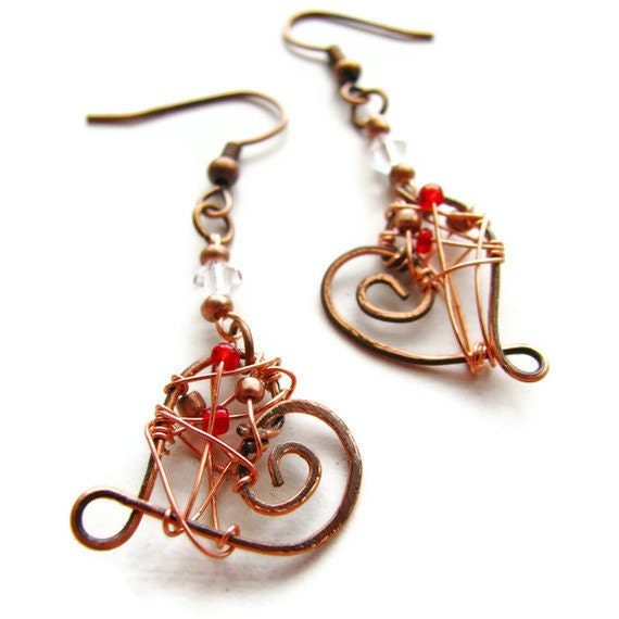 Hammered Heart Earrings Hand Forged Copper Wire Wrapped CLEARANCE - heversonart