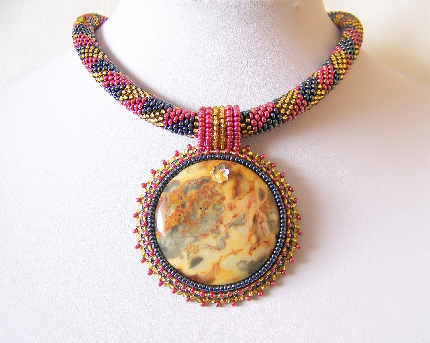 Beadwork bead embroidery pendant necklace with mexican