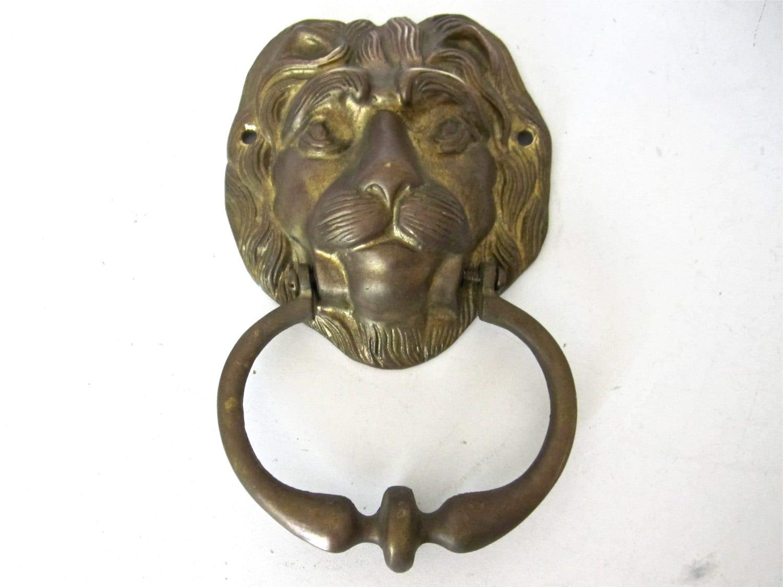 Vintage lion door knocker brass doorknocker by thelazypeacock - Antique brass lion head door knocker ...