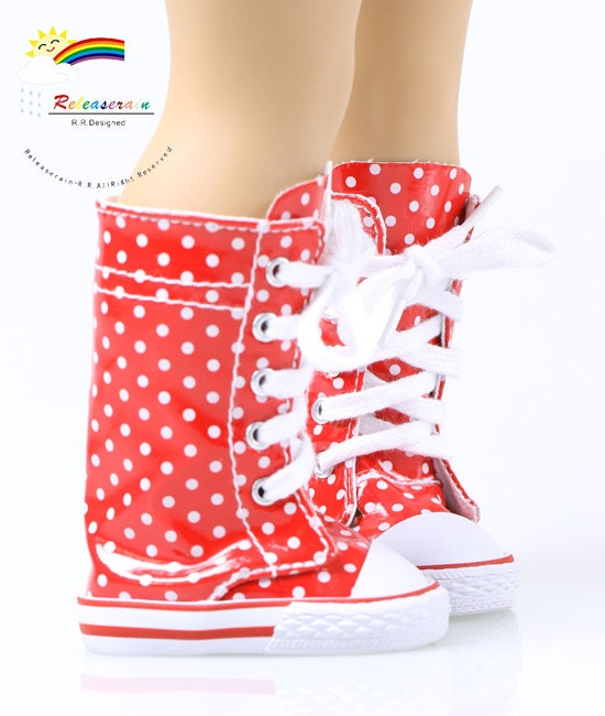 "Knee High Lace-Up Sneakers Boots Doll Shoes Patent Red with White Dots for 18"" American Girl dolls"