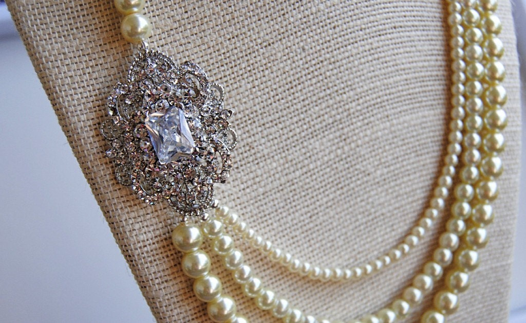 Triple Pearl Strand Victorian Brooch Necklace