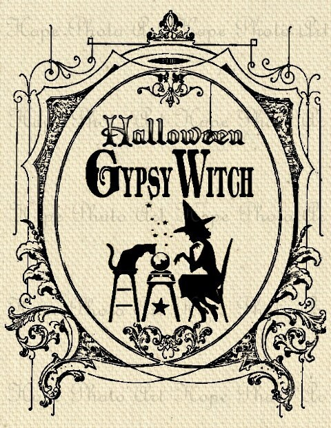 Halloween Gypsy Witch Image Transfer - Burlap Feed Sacks Canvas Pillows Tea Towels greeting cards paper supplies- U Print JPG 300dpi