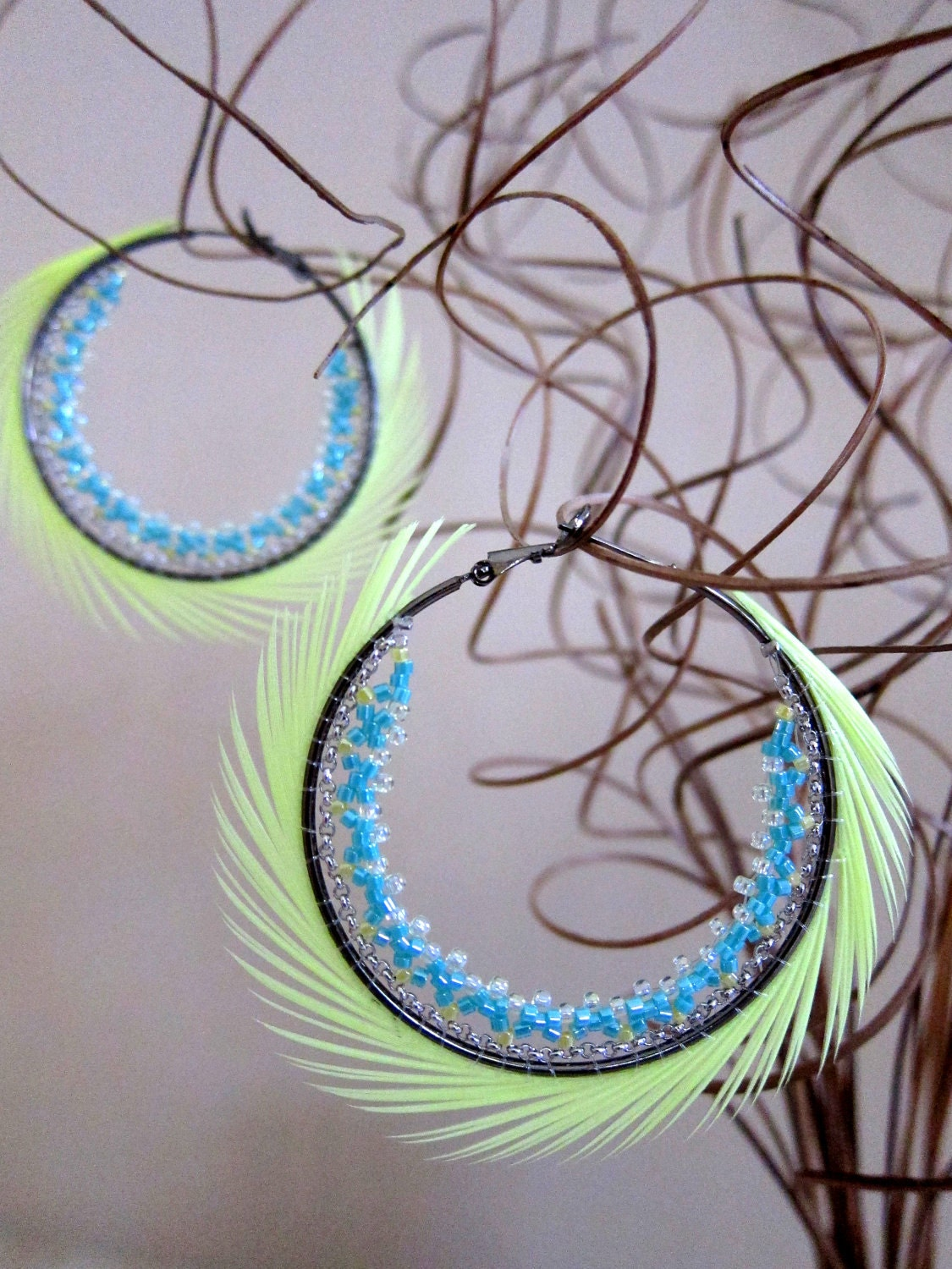 "Hoops Earrings (2"") - neon yellow spiky feather with yellow and aqua glass beads - amieebyamiee"