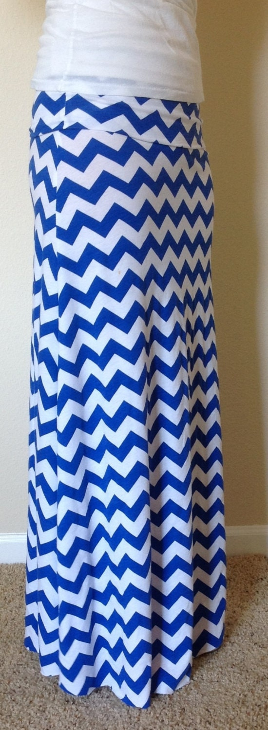 royal blue and white chevron maxi skirt summer by