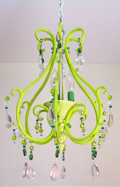 Green Glass Bead Vintage Chandelier