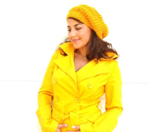 Slouchy Hat in Mustard Yellow