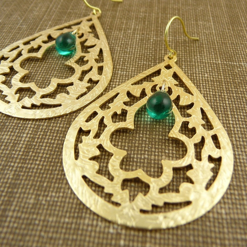 henna - gold and glass teardrop earrings
