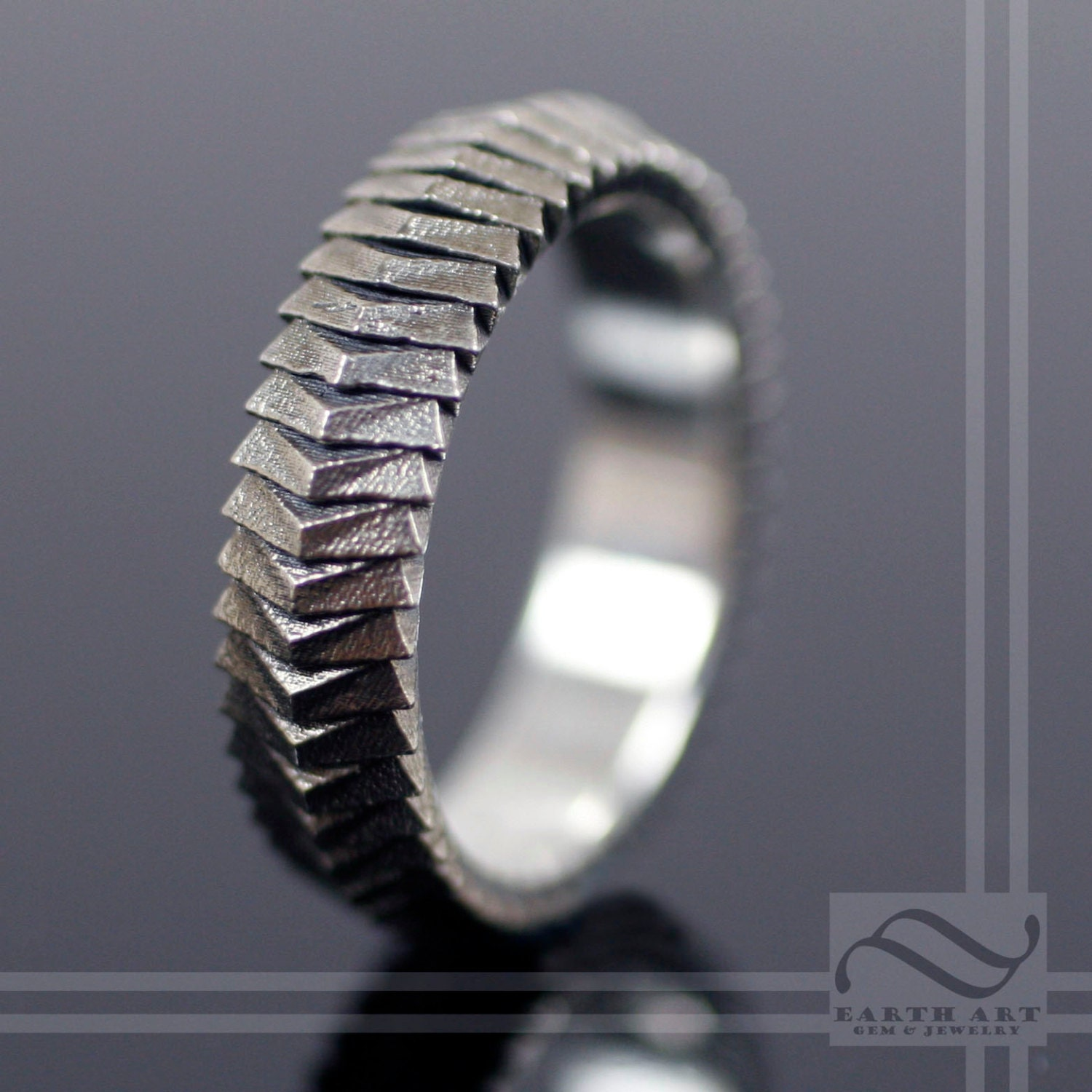 segmented scale armor ring sterling silver by mooredesign13