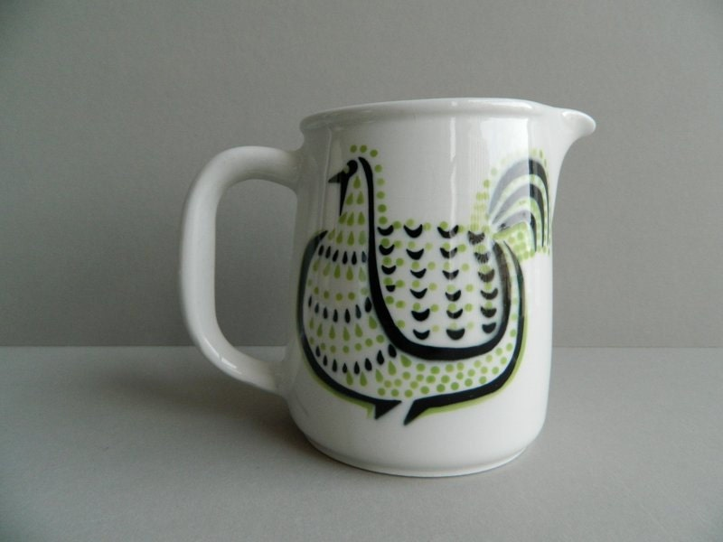 Arabia Finland Pitcher Modernist Black and Green Rooster - MonkiVintage