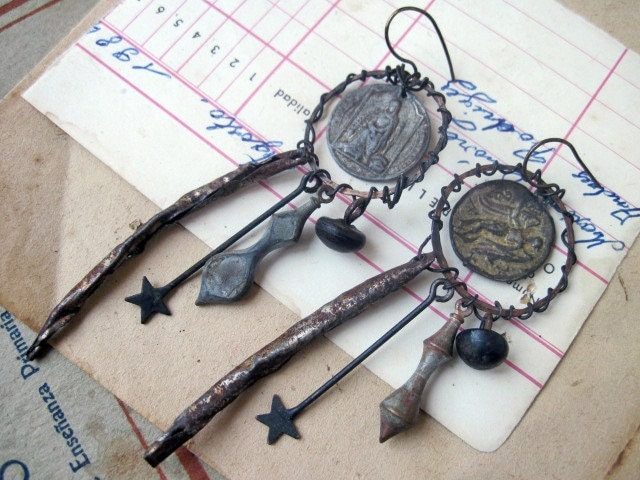 Ashurbanipal. Rustic Gypsy Religious Medal Assemblage Earrings