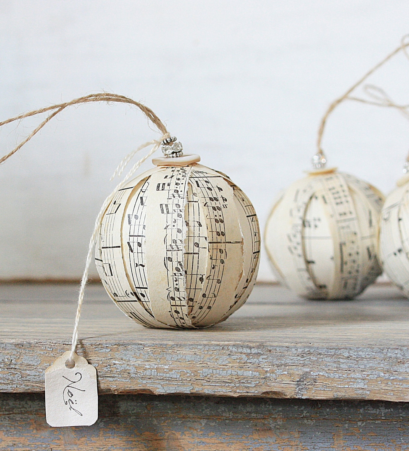 Rustic rag ball ornaments vintage sheet music by for Vintage rustic christmas decorations