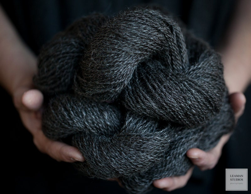 Knitting Patterns For Wensleydale Wool : Wensleydale Wool Yarn Natural Black Fine by WildRoseFarmFibers
