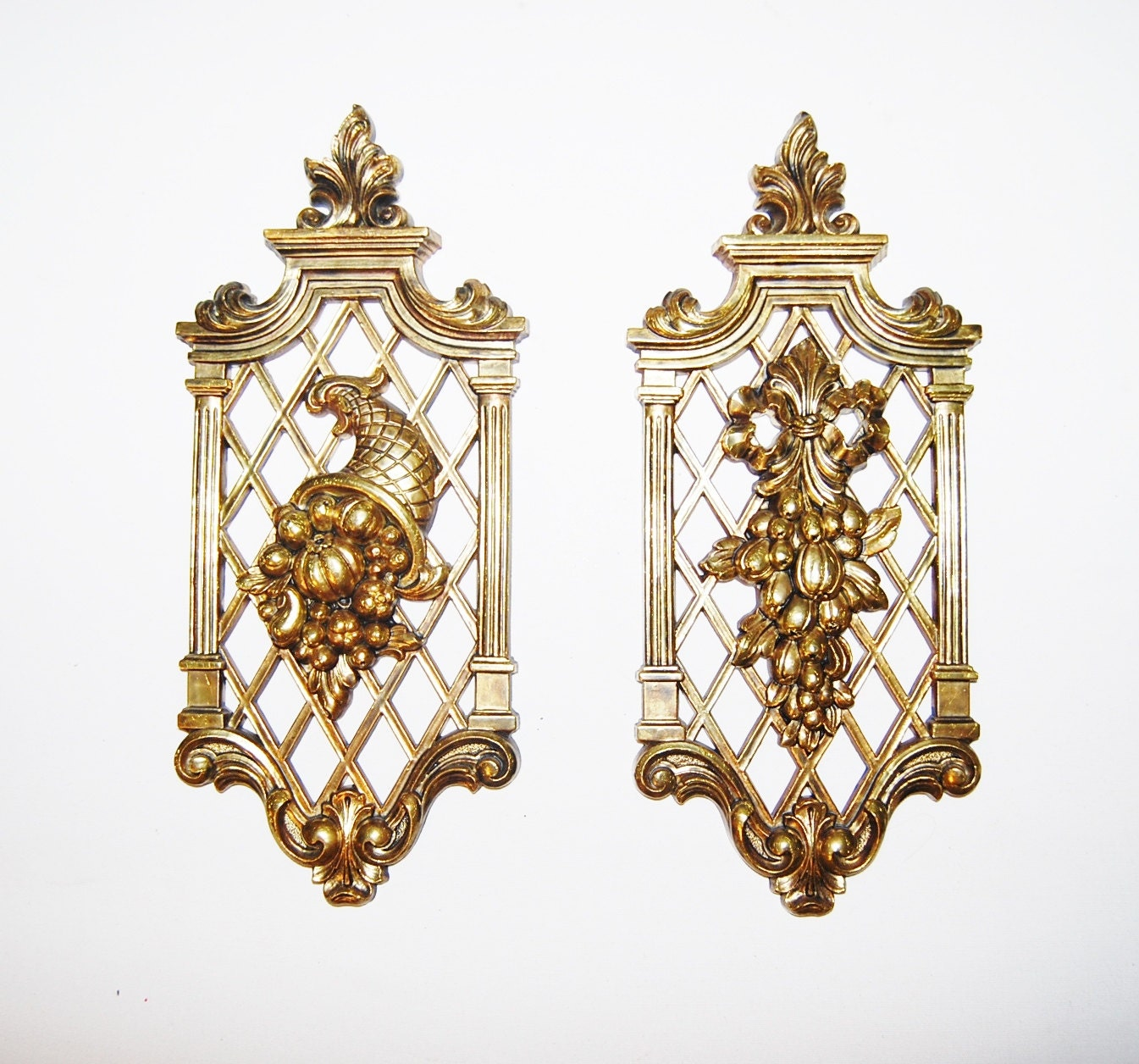 Etsy Gold Wall Decor : Vintage hollywood regency gold wall decor by