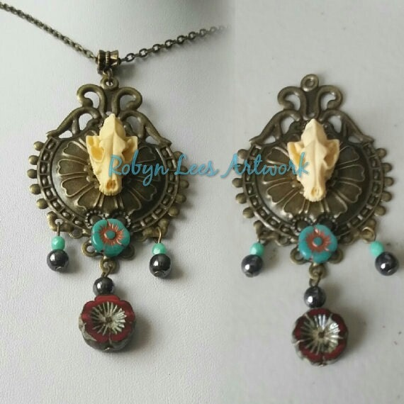 Resin Wolf Skull Necklace or Brooch with Crimson Flower Teal Flower Hematite Beads Mint Beads and Bronze Victorian Filigree