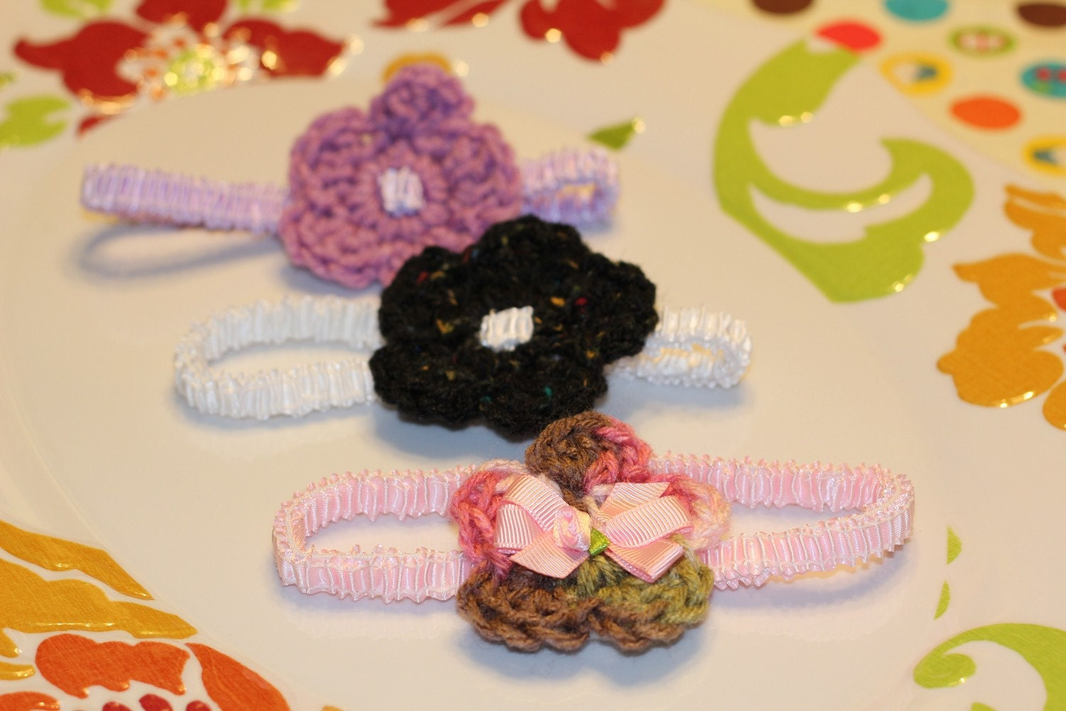Set of 3 Baby Headbands Pink, Purple, & Black/  White