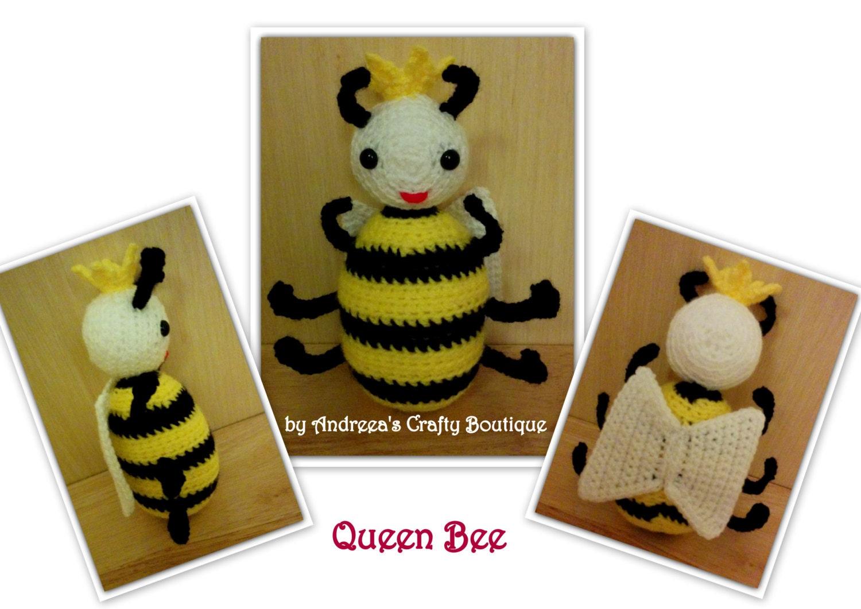 Crochet Queen Bee Soft Stuffed Amigurumi Toy approx 6in  15cm tall