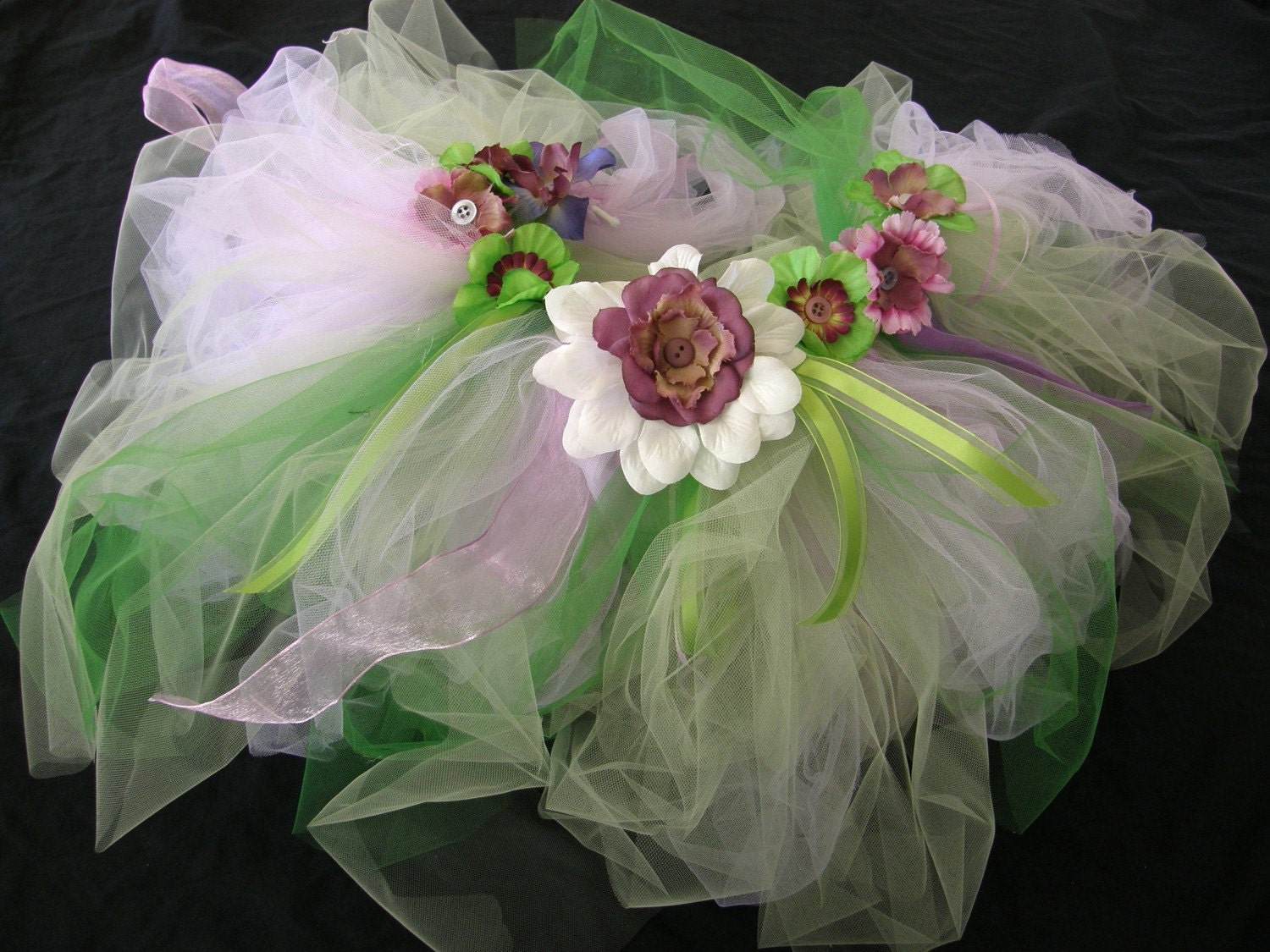 Unique and one of a kind - Fairy, princess, or butterfly purple and lime green tutu fits baby or girl- sizes available 12 months to size 6 - every little girls dream