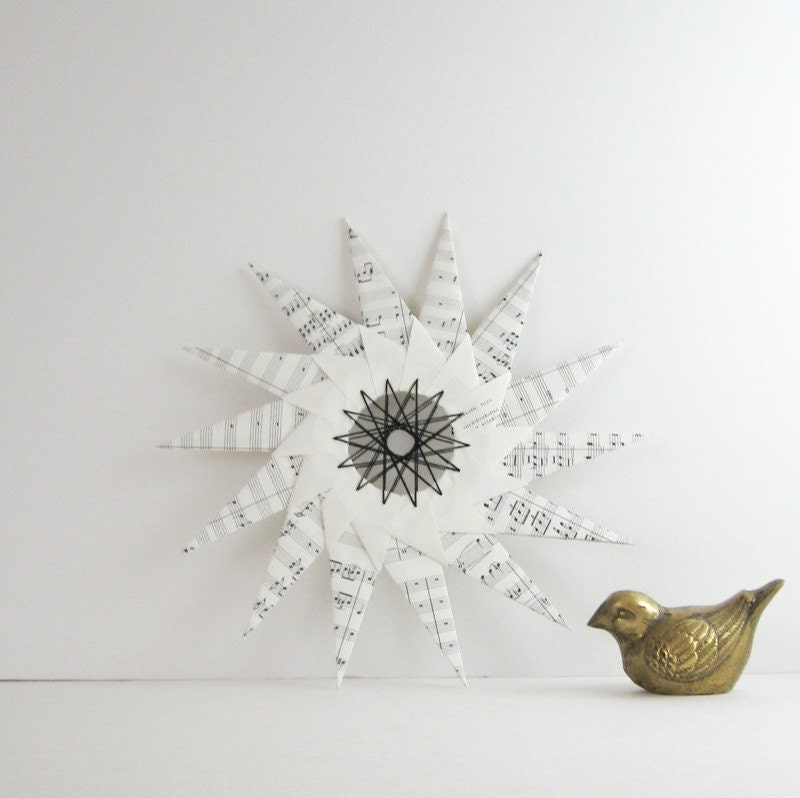 Large Music Paper Star - Origami & String Art Ornament - Eco Home Decor - Recycled Book Sheet Music Paper Sculpture - Holiday Ornament - bookBW