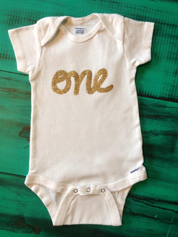 Short Sleeve first birthday onesie with gold glitter, pink glitter, pink or blue lettering - OliveandBirdie