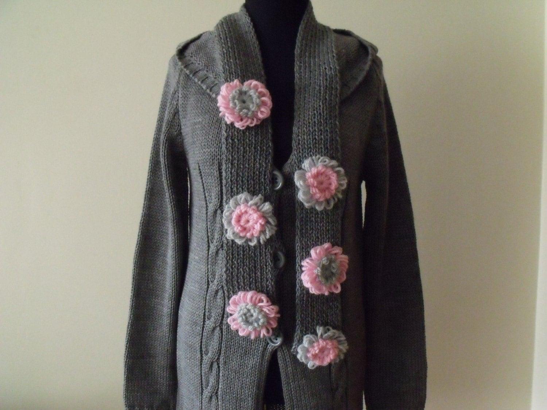 ورزش ژاکت کش باف پشمی خاکستری با روسری آماده برای حمل و نقل