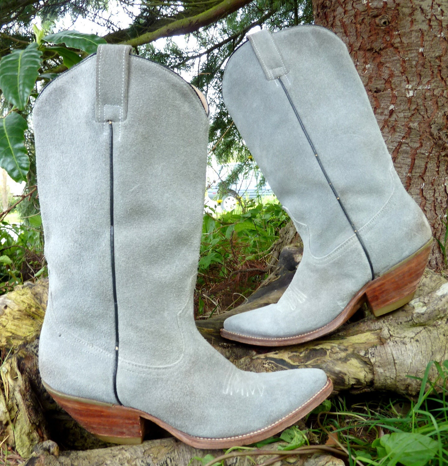 blue suede leather cowboy boots 9 5 by